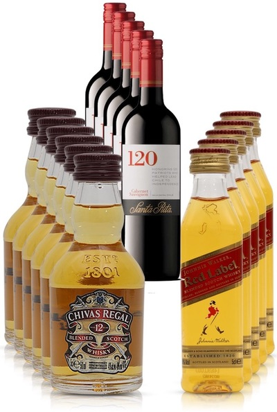 5 x santa rita cabernet sauvignon 375ml chivas red label set