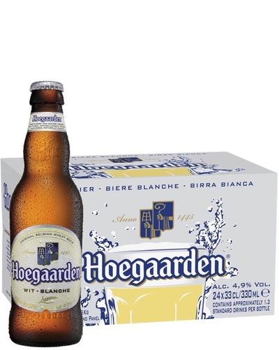 Hoegaarden white beer bottle with case