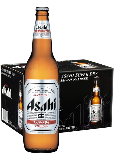Asahi super dry beer bottle and case