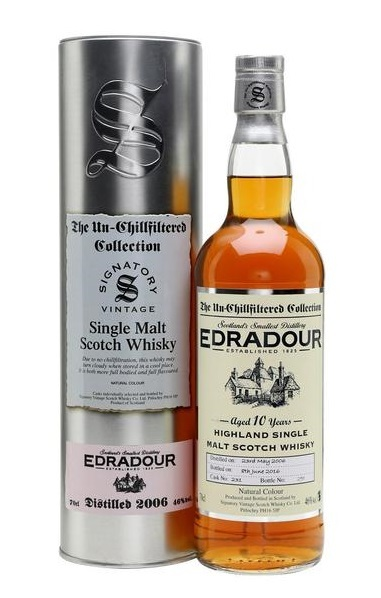 Edradour 2006 10 Year Un-Chillfiltered 700ml Signatory Vintage w/Gift Box