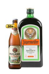 20 x Paulaner Hefe-Weissbier Beer Bottle Case Jägermeister 700ml