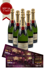 6 x Moet Brut Podium Lounge plus 2 discounted tickets for Podium Lounge SUNDAY 16 Sep ft TABOO
