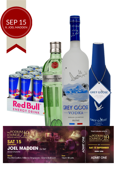 Race day Vodka, Gin and Red Bull Bundle plus 1 discounted ticket for Podium Lounge SATURDAY 15 Sep ft Joel Madden