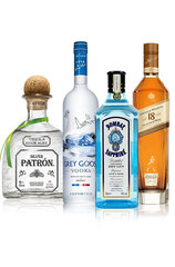 Alcohol party bundle including vodka, whisky, gin and tequila.