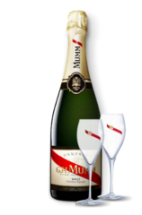 G. H. Mumm Cordon Rouge + two champagne glasses
