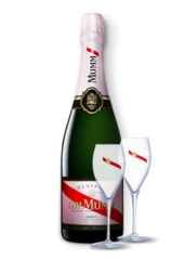 G. H. Mumm Rose + 2 champagne glasses
