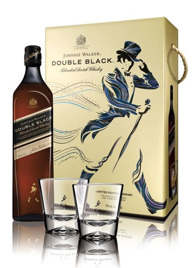 Johnnie Walker Double Black 700ml + 2 Gift Glasses w/Gift Box