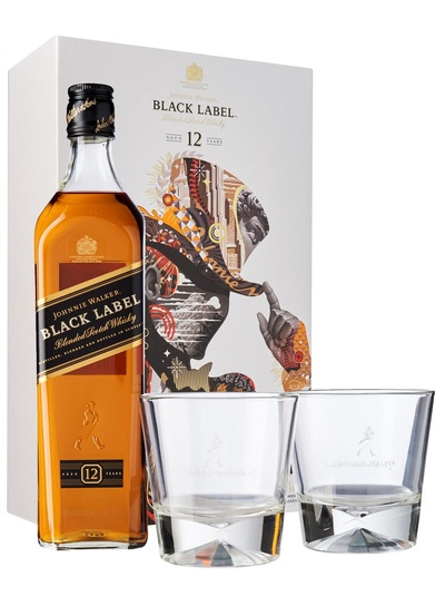 Johnnie Walker Black Label 700ml w/ Gift Box and 2 Glasses