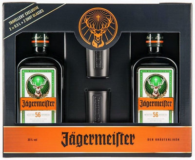 Jägermeister 500ml Twinpack w/ Gift Box & 2 glasses