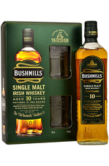 Bushmills Irish Whiskey 10 Year w/Gift Box and 2 Glasses