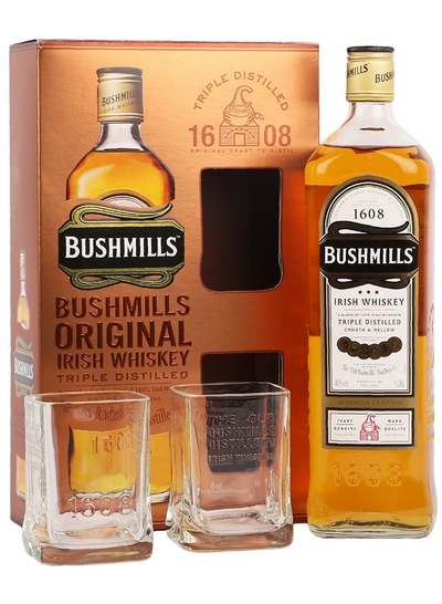 Bushmills Original Irish Whiskey w/Gift Box and 2 Glasses