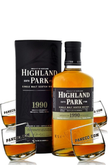 Auspicious Highland Park 1990 & Rocking Glass Set