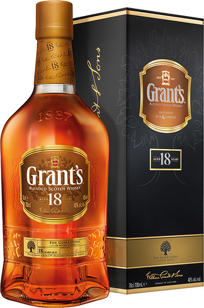 Grants 18 Year 700ml Bottle and box
