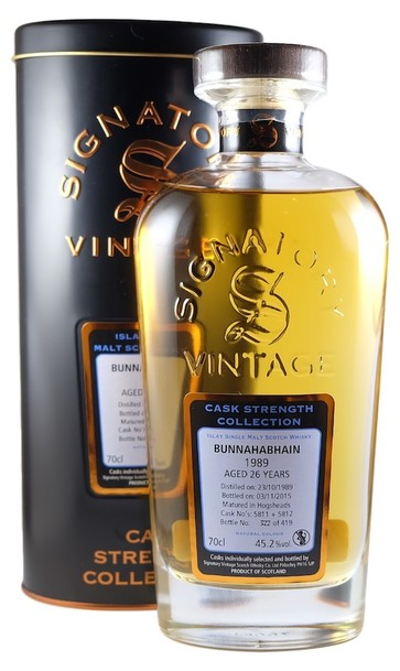 Bunnahabhain 1989 cask strength signatory vintage bottle and box