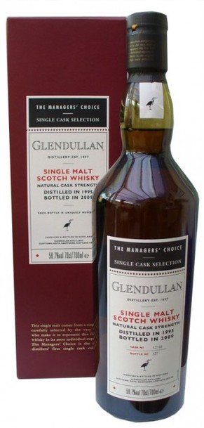 Glendullan 1995 13 Year Managers' Choice bottle and box